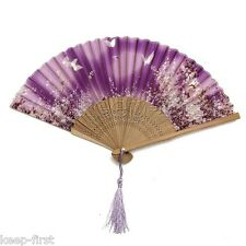 Chinese Japanese Pocket Folding Flower Silk Bamboo Hand Fan Dance Wedding Party