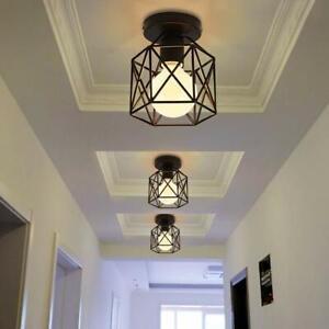Vintage Hallway Ceiling Light, Black Semi-Flush Mount Basket Cage Bedroom Living