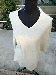 Pure Cashmere Poncho Wrap Sweater cardigans Handmade Nepal poncho V-Neck beige