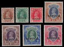 India 1937 King George VI stamps optd with SERVICE set.