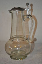 Biedermeier Glas Krug mit Zinndeckel