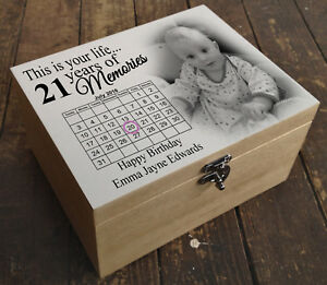 Personalised wooden memory keepsake box, your photo/text printed 21st birthday