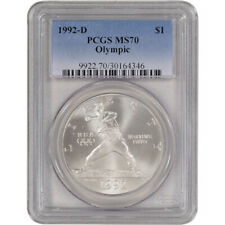 1992-D US Olympic Commemorative BU Silver Dollar - PCGS MS70