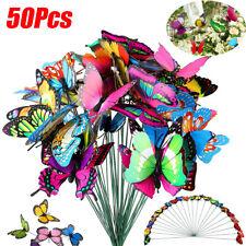 50pcs Butterfly Stakes Colorful Garden Butterflies Art Planter Flower Pot Decor