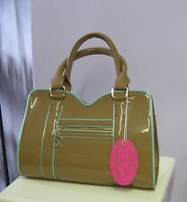 Zandra Rhodes Patent Toffee Mint Green 3 Section Designer Grab Shoulder Bag