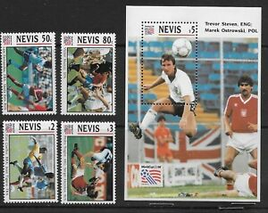 NEVIS , 1994 , WORLD CUP SOCCER , SPORTS , S/S & SET OF 4 , PERF , MNH