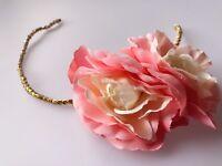 Women Girl boho pink Peony Crystal Flower Dance Hair Headband Band Hoop Garland