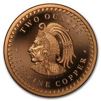 /&  5 oz 2 Coin Set  AZTEC CALENDAR  design 1 oz Copper Round Coins  CUAUHTEMOC