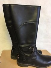 UGG EVANNA Stout TALL WATERPROOF LEATHER SNOW BOOTS Stout Black WOMENS 1012513