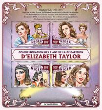 More details for niger 2016 mnh elizabeth liz taylor 5th memorial 4v m/s movie stars stamps
