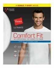 Hanes UFT15WASUM Ultimate Comfort Fit Crewneck Medium Size Undershirt, White - 5 Pack