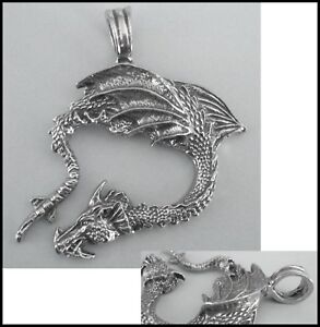 PEWTER CHARM #419 DRAGON (51mm x 50mm) LARGE LOOP / BAIL for choker cord