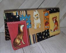 Dog Wallet Debit Checkbook Cover Document Coupon Organizer Fabric Print USA