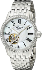Rotary Women's Automatic Watch with Silver Dial Analogue Display and Silver Stai