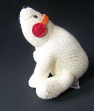 "Baby Gap Polar Bear Plush Rattle White Bear with Ear Muffs 6 1/2"" tall"