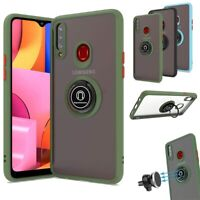 For Samsung Galaxy A21 Rotation Ring Stand Case Hybrid Protective Bumper Cover