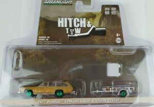 Greenlight 1977 Pontiac Lemans Safari w/ Utility Trailer Hitch Tow Green Machine