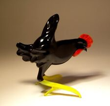 Blown Glass Animal Art Figurine Bird BLACK Chicken Rooster HEN