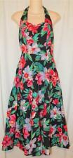 Vintage 80s STEPPIN OUT Black Red Floral RockaBilly CHaCHa Salsa HALTER Dress S