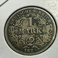 1875-C GERMANY SILVER ONE MARK NICE COIN