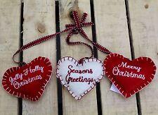 Triple Felt Fabric Hanging Hearts Christmas Decoration