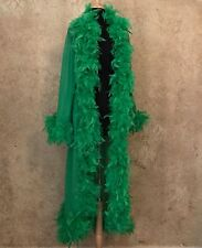 Green Feather Trim Long Dressing Robe Burlesque Costume Stage Boudoir