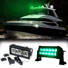 "7"" Super Bright Green LED Epistar 36W Boat Yacht Marine Fog Light Bar Roof Top"