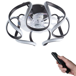 Modern LED Ceiling Fan Light 48W Dimmable Remote Control Bedroom Decor Invisible