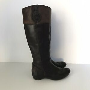 PIKOLINOS Womens Knee High Wedge Two Tone Riding Boots Brown Black Sz 36 / 5.5
