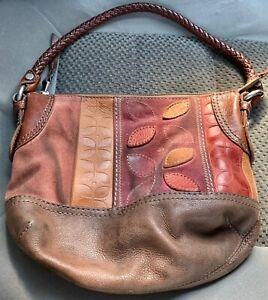 FOSSIL Floral Logo Leather Suede PATCHWORK Boho Shoulder HANDBAG - Braided Strap