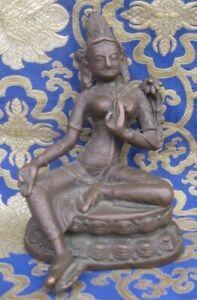 Antique Very Old Master Quality Handmade Bronze Tibetan Green Tara, Nepal