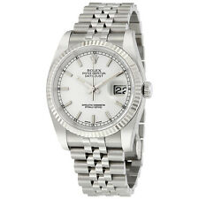 Rolex Datejust White Index Dial 18k White Gold Fluted Bezel Jubilee Bracelet