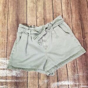 America Eagle Highest Rise Mom Shorts Womens Size 18 Olive Paperbag Waist