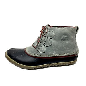 Sorel Out N About Women's Size 7.5 Waterproof Leather Ankle Duck Boot Gray Black