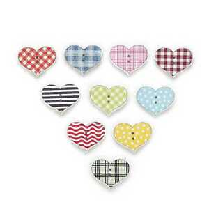 30pcs Heart Shape Wood Buttons for Sewing Scrapbooking Clothing Gift Decor 25mm