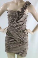 $398 New Women's Bcbg max azria Dress Evangeline one shoulder SZ 8 fatigue
