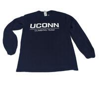 UCONN Huskies Vintage Long Sleeve Shirt Climbing Team Graphic Sz S Custom Ink