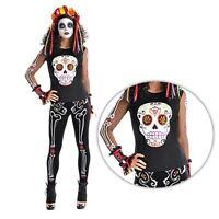 Adulto Mujer Día de los Muertos Purpurina Calavera Camiseta Halloween Costume