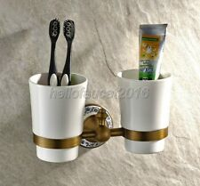 Antique Brass Ceramic Toothbrush Holder Bathroom Accessories Double Cups lj004-6