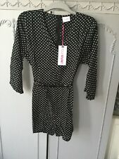 Your Style Size 12 Black Polka Dot Belted Viscose Playsuit Bnwt