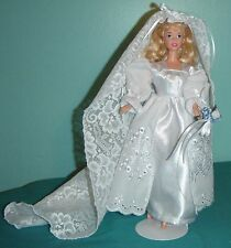 White Eyelet and Satin Wedding Ensemble with Long Lacy Veil for Barbie Doll WD61