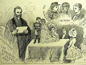 American Midgets Marriage in MANCHESTER ENGLAND 1884 Antique Engraving Matted