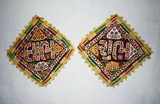 Traditionnel Indien Artisanat Shubh Labh Tenture Murale Décoratif Broderie Patch