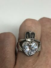 Silver Stainless Steel Size 6 Vintage Claddaugh Heart Ring Cubic Zirconia