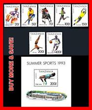 TANZANIA 1993 SUMMER SPORTS + S/S MNH BASKETBALL, FOOTBALL, EQUESTRIAN, HORSES
