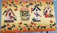 "TEXTILE KITCHEN MAT(18x30"")BIRDS,BIRDHOUSES,BUTTERFLIES & FLOWERS,WELCOME SPRING"