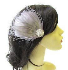 Grey Silver Peacock Feather Fascinator Hair Clip Headpiece Races Bridesmaid 1813