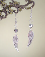 Guardian Angel Wing and Faceted Silver Crystal Bead Drop Earrings