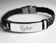 Name Bracelet TYLER - Mens Leather Braided Engraved Bracelet - Name Plate Gifts