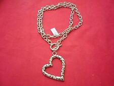 "Goldtone & 14K Yg Over Stainless Designer Inspired Heart Necklace (28"") in"